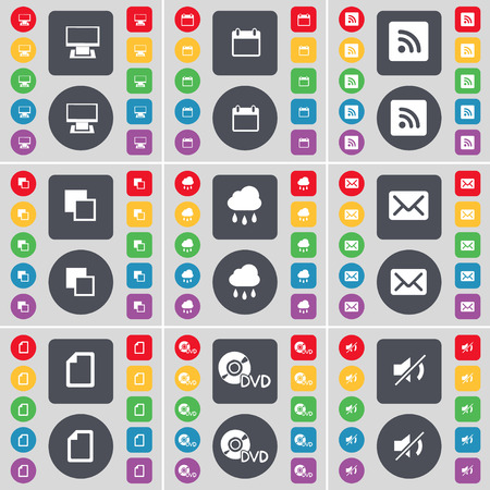 Monitor, Calandar, RSS, Copy, Cloud, Message, File, DVD, Mute icon symbol. A large set of flat, colored buttons for your design. illustration