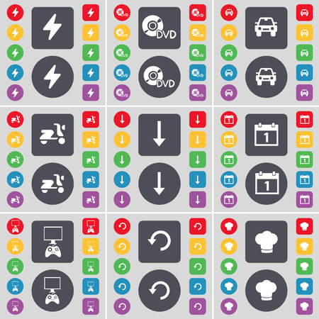 game console: Flash, DVD, Camera, Scooter, Arrow down, Calendar, Game console, Reload, Cooking hat icon symbol. A large set of flat, colored buttons for your design. illustration
