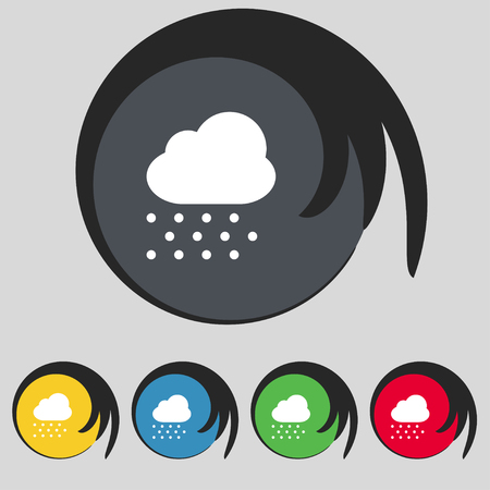 snowing: snowing icon sign. Symbol on five colored buttons. illustration