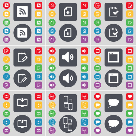 chat window: RSS, Download file, Survey, Sound, Window, Monitor, Connection, Chat cloud icon symbol. A large set of flat, colored buttons for your design. illustration