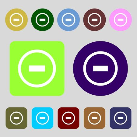 minus sign: Minus sign icon. Negative symbol. Zoom out.12 colored buttons. Flat design. illustration