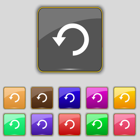 groupware: Upgrade, arrow, update icon sign. Set with eleven colored buttons for your site. illustration Stock Photo