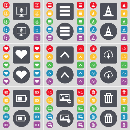 heart monitor: Monitor, Apps, Cone, Heart, Arrow up, Cloud, Battery, Picture, Trash can icon symbol. A large set of flat, colored buttons for your design. illustration