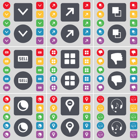 arrow down: Arrow down, Full screen, Copy, Sell, Apps, Dislike, Moon, Checkpoint, Headphones icon symbol. A large set of flat, colored buttons for your design. illustration
