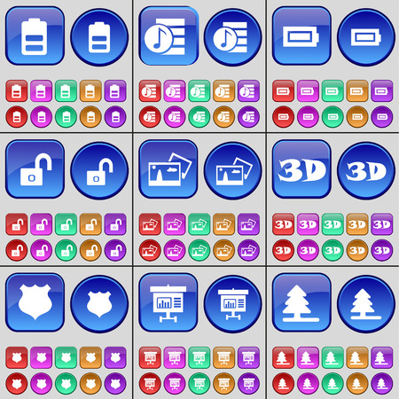 playlist: Battery, Playlist, Battery, Lock, Picture, 3D, Police badge, Diagram, Fir tree. A large set of multi-colored buttons. illustration
