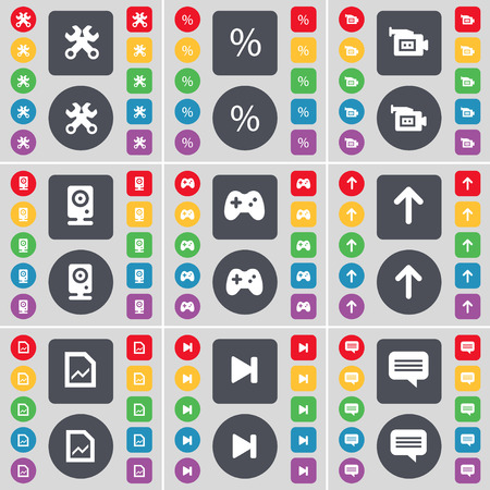 chat up: Wrench, Percent, Film camera, Speaker, Gamepad, Arrow up, Graph file, Media skip, Chat bubble icon symbol. A large set of flat, colored buttons for your design. illustration