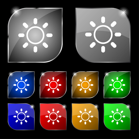 brightness: Brightness icon sign. Set of ten colorful buttons with glare. illustration