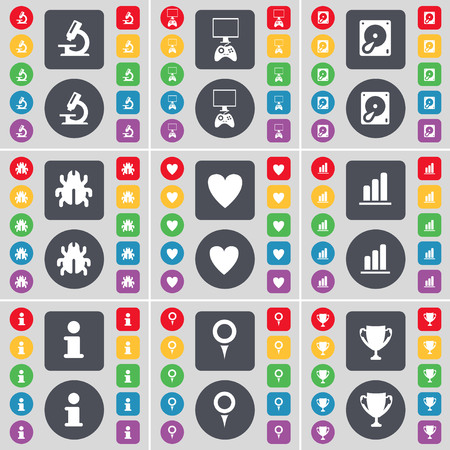 game console: Microscope, Game console, Hard drive, Bug, Heart, Diagram, Information, Checkpoint, Cup icon symbol. A large set of flat, colored buttons for your design. illustration