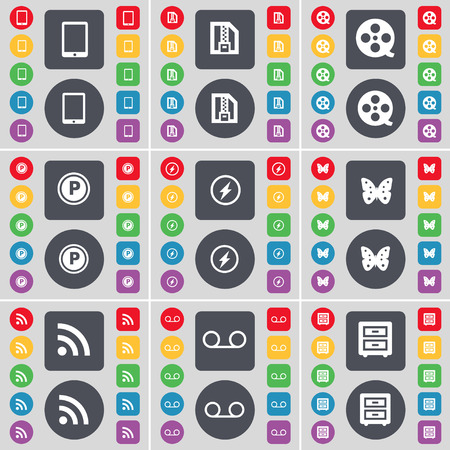 bedtable: Tablet PC, ZIP file, Videotape, Parking, Flash, Butterfly, RSS, Cassette, Bed-table icon symbol. A large set of flat, colored buttons for your design. illustration