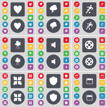 videotape: Heart, Lightning, Football, Film camera, Sound, Videotape, Deploying screen, Badge, Calendar icon symbol. A large set of flat, colored buttons for your design. illustration