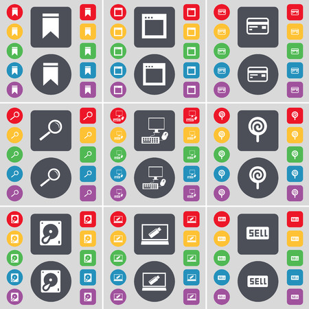 hard sell: Marker, Window, Credit card, Magnifying glass, PC, Lollipop, Hard drive, Laptop, Sell icon symbol. A large set of flat, colored buttons for your design. illustration Stock Photo