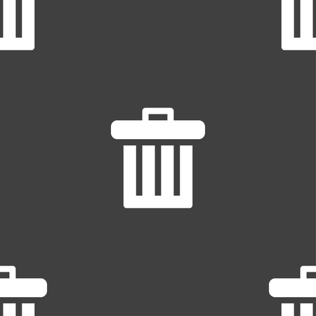 environmental awareness: Recycle bin icon sign. Seamless pattern on a gray background. illustration