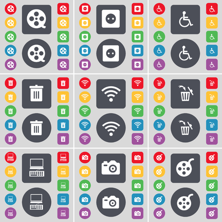 disabled person: Videotape, Socket, Disabled person, Trash can, Wi-Fi, Laptop, Camera icon symbol. A large set of flat, colored buttons for your design. illustration