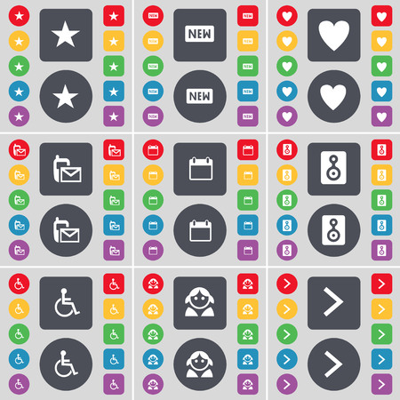arrow right icon: Star, New, Heart, SMS, Calendar, Speaker, Disabled person, Avatar, Arrow right icon symbol. A large set of flat, colored buttons for your design. illustration Stock Photo