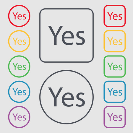 confirm confirmation: Yes sign icon. Positive check symbol. Symbols on the Round and square buttons with frame. illustration