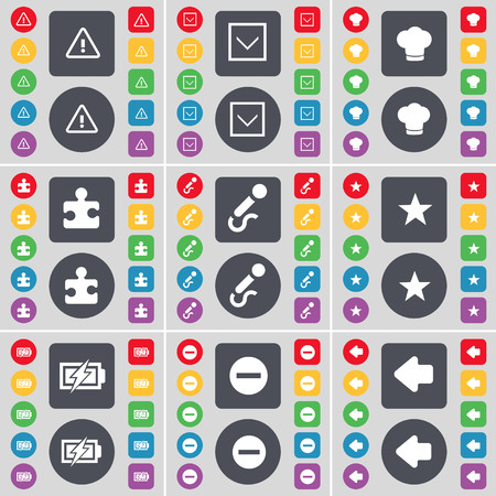 arrow left icon: Warning, Arrow down, Cooking hat, Puzzle, Microphone, Star, Charging, Minus, Arrow left icon symbol. A large set of flat, colored buttons for your design. illustration Stock Photo