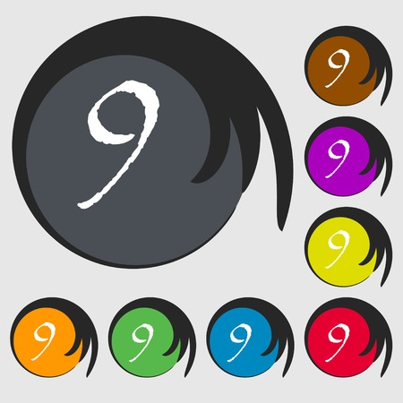 nine: number Nine icon sign. Symbols on eight colored buttons. illustration Stock Photo