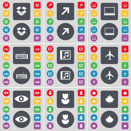 keyboard music: box, Full screen, Laptop, Keyboard, Music window, Airplane, Vision, Flower, Maple leaf icon symbol. A large set of flat, colored buttons for your design. illustration