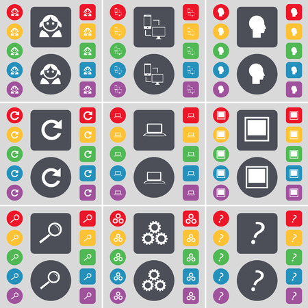 laptop silhouette: Avatar, Connection, Silhouette, Reload, Laptop, Window, Magnifying glass, Gear, Question mark icon symbol. A large set of flat, colored buttons for your design. illustration Stock Photo