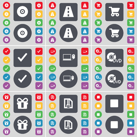 cart road: Disk, Road, Shopping cart, Tick, Laptop, DVD, Gift, ZIP file, Media stop icon symbol. A large set of flat, colored buttons for your design. illustration