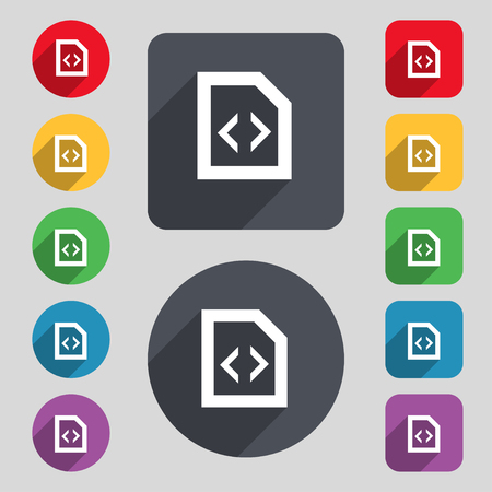 programming code: Programming code icon sign. A set of 12 colored buttons and a long shadow. Flat design. illustration