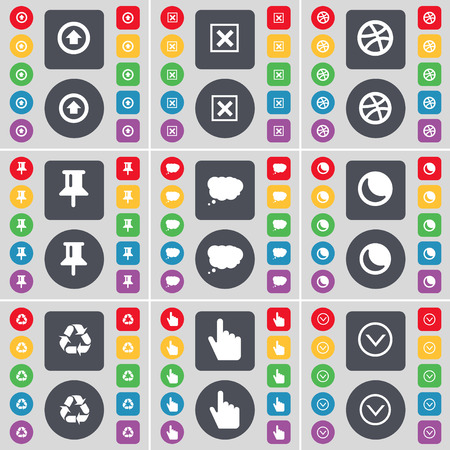 arrow down icon: Arrow up, Stop, Ball, Pin, Chat cloud, Moon, Recycling, Hand, Arrow down icon symbol. A large set of flat, colored buttons for your design. illustration