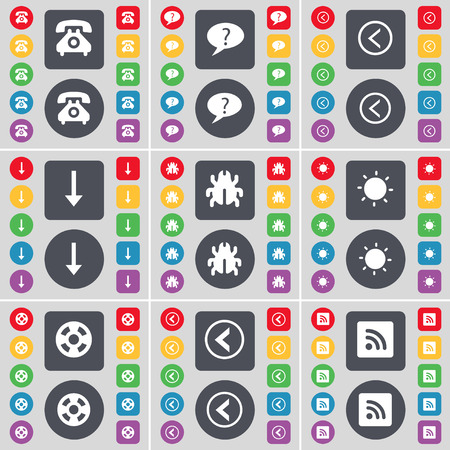 videotape: Retro phone, Chat bubble, Arrow left, Arrow down, Bug, Light, Videotape, Arrow left, RSS icon symbol. A large set of flat, colored buttons for your design. illustration