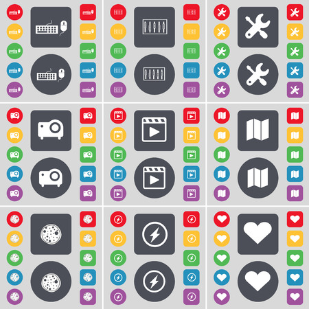 keyboard player: Keyboard, Equalizer, Wrench, Projector, Media player, Map, Pizza, Flash, Heart icon symbol. A large set of flat, colored buttons for your design. illustration