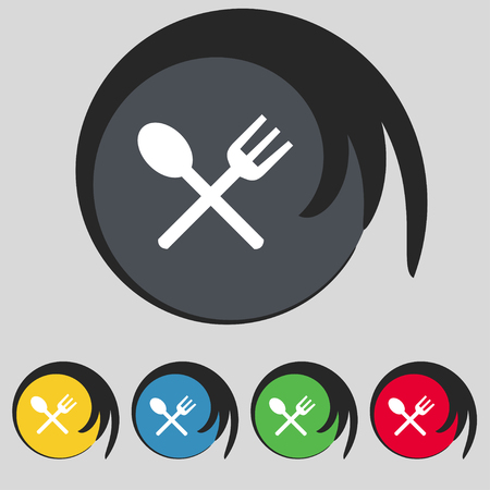 crosswise: Fork and spoon crosswise, Cutlery, Eat icon sign. Symbol on five colored buttons. illustration