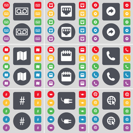 lan: Cassette, LAN socket, Back, Mail, Calendar, Receiver, Hashtag, Socket, Web cursor icon symbol. A large set of flat, colored buttons for your design. illustration