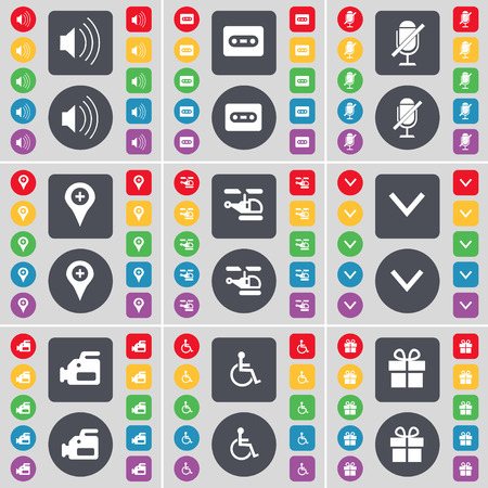 disabled person: Sound, Cassette, Microphone, Checkpoint, Helicopter, Arrow down, Film camera, Disabled person, Gift icon symbol. A large set of flat, colored buttons for your design. illustration