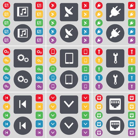 lan: Music window, Satellite dish, Socket, Gear, Tablet PC, Wrench, Media skip, Arrow down, LAN socket icon symbol. A large set of flat, colored buttons for your design. illustration