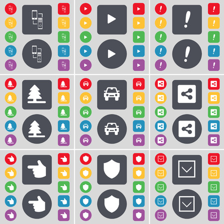 arrow down: Connection, Media play, Exclamation mark, Firtree, Car, Share, Hand, Badge, Arrow down icon symbol. A large set of flat, colored buttons for your design. illustration Stock Photo
