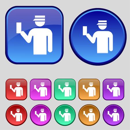 inspector: Inspector icon sign. A set of twelve vintage buttons for your design. illustration