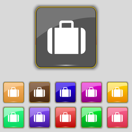 suit case: Suitcase icon sign. Set with eleven colored buttons for your site. illustration
