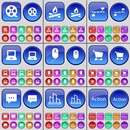videotape: Videotape, Campfire, Connection, Laptop, Mouse, Chat bubble, Diagram, Action. A large set of multi-colored buttons. illustration