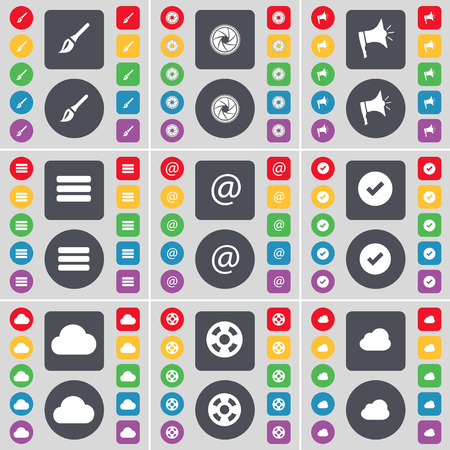 lens brush: Brush, Lens, Megaphone, Apps, Mail, Tick, Cloud, Videotape icon symbol. A large set of flat, colored buttons for your design. illustration Stock Photo