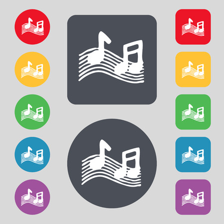 ringtone: musical note, music, ringtone icon sign. A set of 12 colored buttons. Flat design. illustration