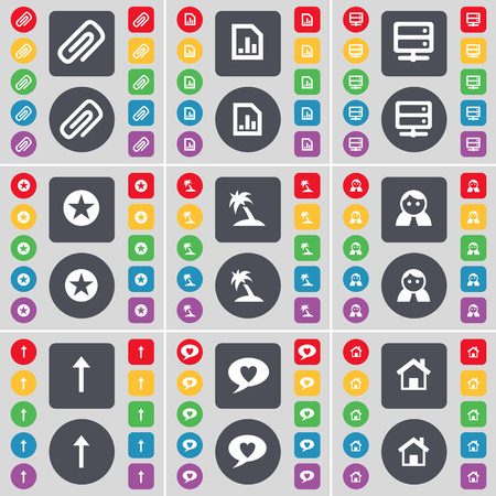 chat up: Clip, Diagram file, Server, Star, Palm, Avatar, Arrow up, Chat bubble, House icon symbol. A large set of flat, colored buttons for your design. illustration Stock Photo
