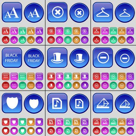 silk hat: Font, Stop, Hanger, Black Friday, Silk hat, Minus, Badge, Music file, Message. A large set of multi-colored buttons. illustration