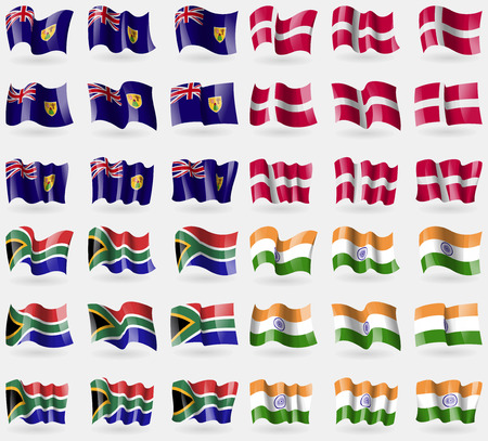 the turks: Turks and Caicos, Denmark, South Africa, India. Set of 36 flags of the countries of the world. illustration Stock Photo