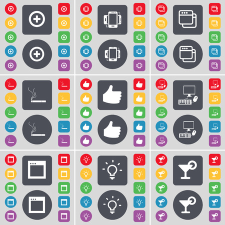 window light: Plus, Smartphone, Window, Cigarette, Like, PC, Window, Light bulb, Cocktail icon symbol. A large set of flat, colored buttons for your design. illustration