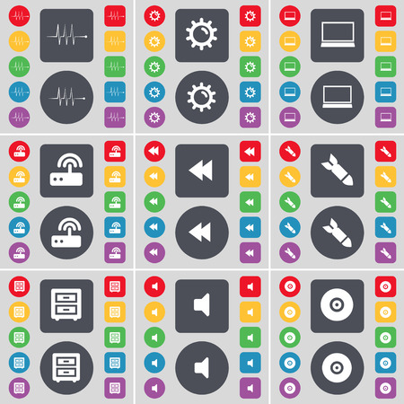 bedtable: Pulse, Gear, Laptop, Router, Rewind, Rocket, Bed-table, Sound, Disk icon symbol. A large set of flat, colored buttons for your design. illustration Stock Photo