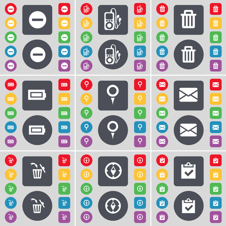mp3 player: Minus, MP3 player, Trash can, Battery, Checkpoint, Message, Trash can, Compass, Survey icon symbol. A large set of flat, colored buttons for your design. illustration