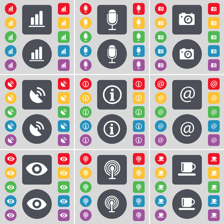 satellite dish: Diagram, Microscope, Camera, Satellite dish, Information, Mail, Vision, Wi-Fi, Cup icon symbol. A large set of flat, colored buttons for your design. illustration Stock Photo