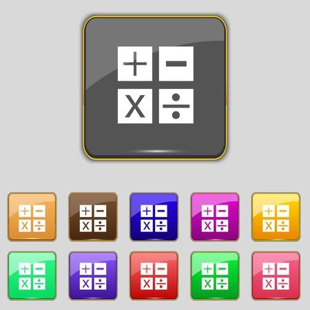 multiplicacion: Multiplicación, división, más, menos icono de símbolo de Matemáticas Matemáticas Conjunto de botones de color ilustración