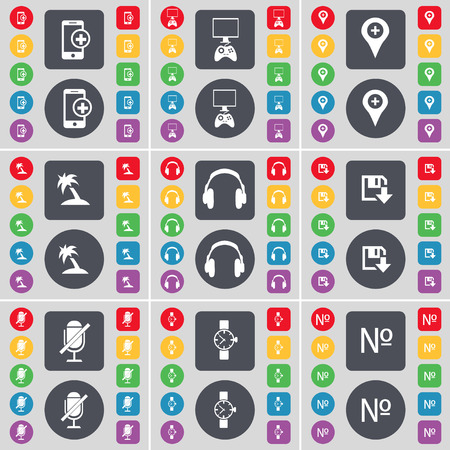 game console: Smartphone, Game console, Checkpoint, Palm, Headphones, Floppy, Microphone, Wrist watch, Number icon symbol. A large set of flat, colored buttons for your design. illustration