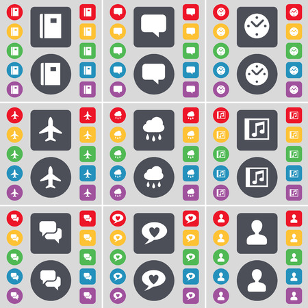 chat window: Notebook, Chat bubble, Clock, Airplane, Cloud, Music window, Chat, Avatar icon symbol. A large set of flat, colored buttons for your design. illustration Stock Photo