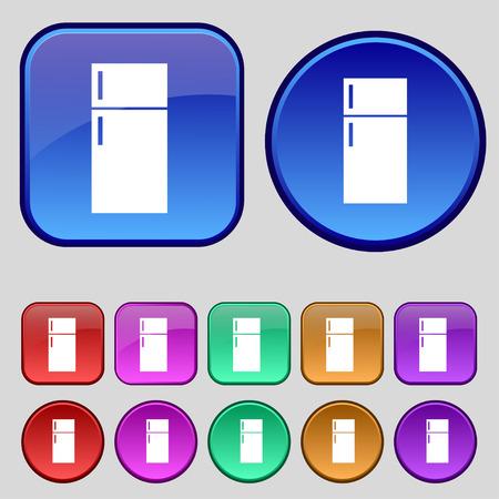 cold storage: Refrigerator icon sign. A set of twelve vintage buttons for your design. illustration