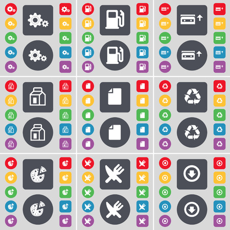 arrow down: Gear, Gas station, Cassette, Packing, File, Recycling, Pizza, Fork and knife, Arrow down icon symbol. A large set of flat, colored buttons for your design. illustration